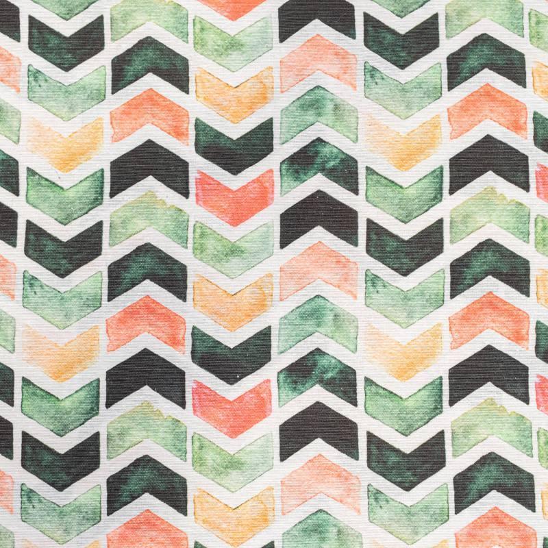 Toile polycoton grande largeur blanche imprimée chevron vert corail et orange