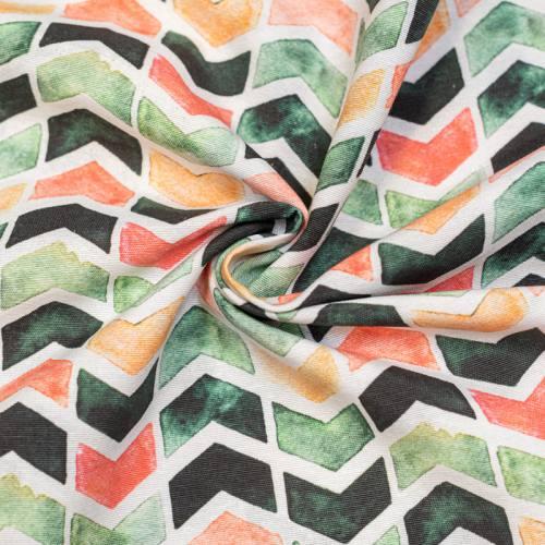 Toile polycoton grande largeur blanche imprimée chevron vert corail et orange Oeko-tex
