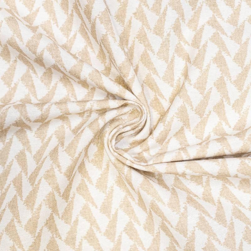 Toile polycoton grande largeur blanche motif triangle beige