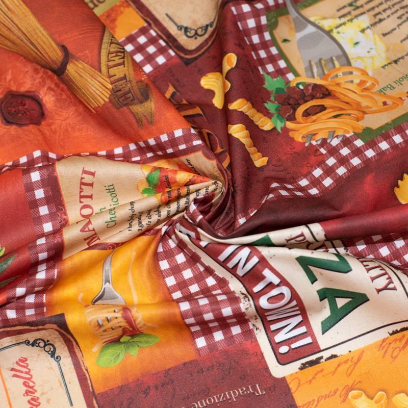 Coton enduit rouge cerise motif pasta