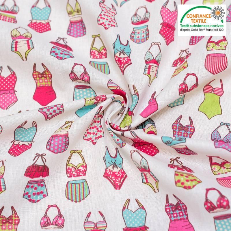Coton écru motif maillots de bain rose et vert