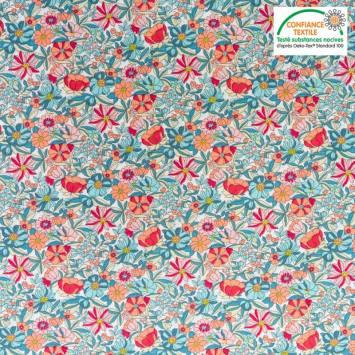 Coton écru motif fleurs orange et vertes apolline