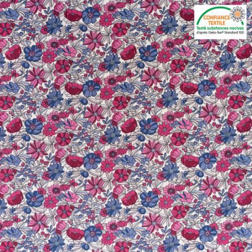 Coton blanc motif fleurs roses et bleues apolline