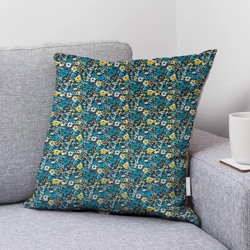 Coton noir motif fleurs bleu et jaune apolline