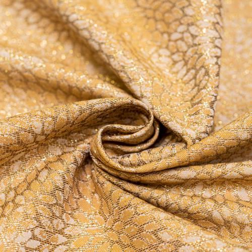 Tissu jacquard ocre avec fil argenté