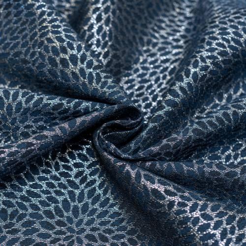 Tissu jacquard bleu avec fil argenté