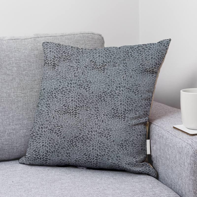 Tissu jacquard gris avec fil argenté