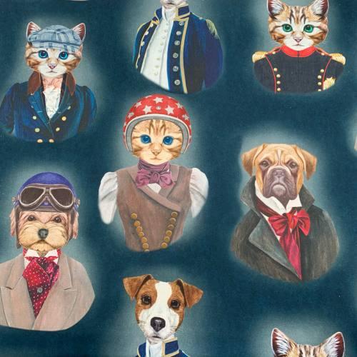 Toile coton bleu nuit imprimée chien et chat