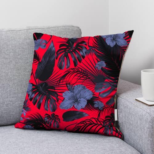 Velours ras rouge imprimé fleur d'hibiscus bleue