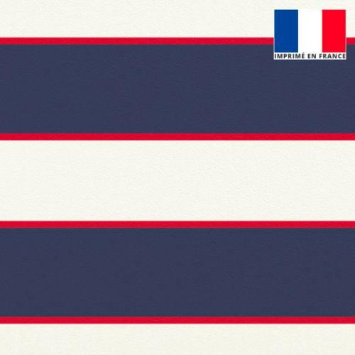 Velours écrue imprimé rayure bleue et rouge