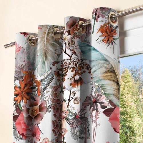 Tissu occultant écru motif grosses fleurs jungle et cachemire