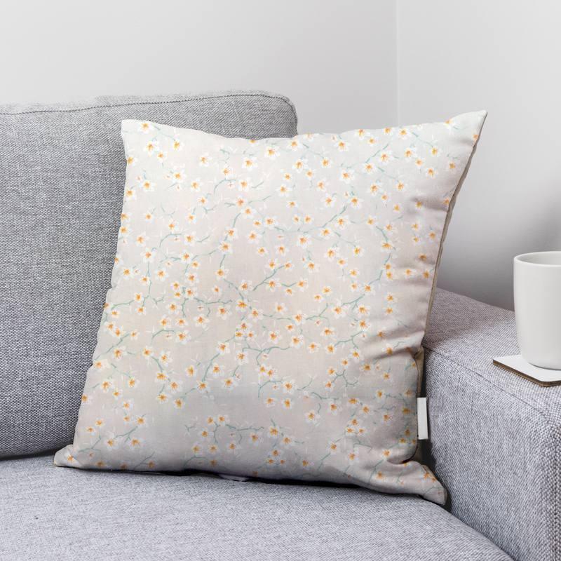 Coton lin motif fleur d'amandier blanche