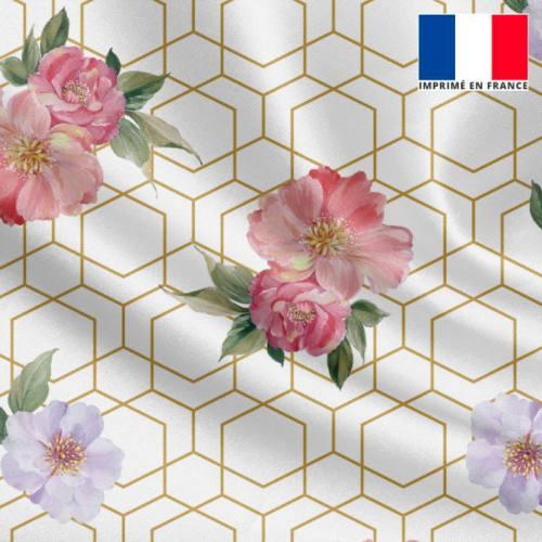 Satin écru motif alvéoles irrégulières dorées et fleur rose et lavande