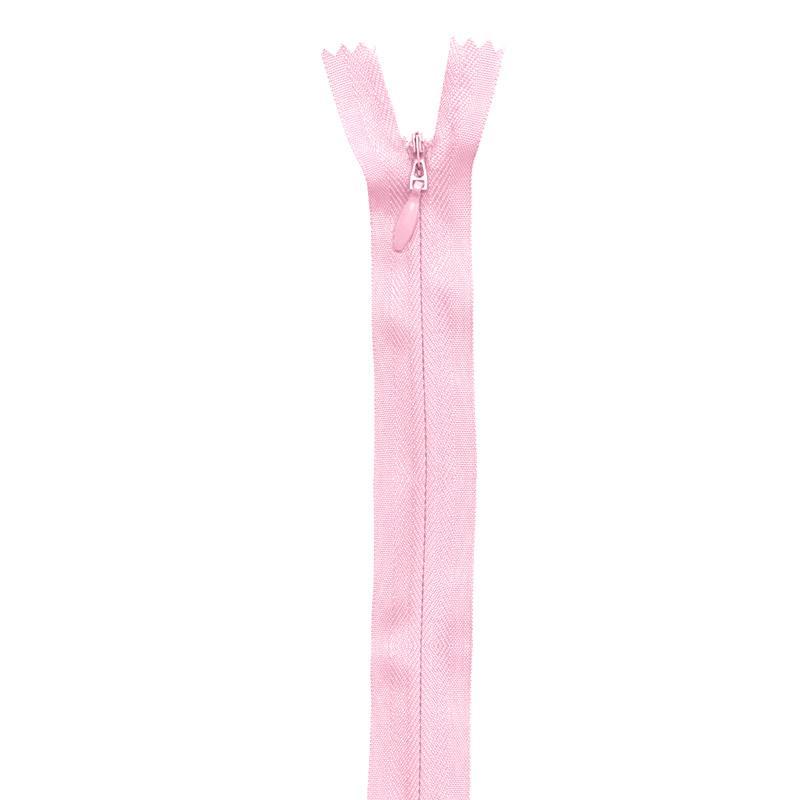 Fermeture rose à glissière invisible 40 cm col 207