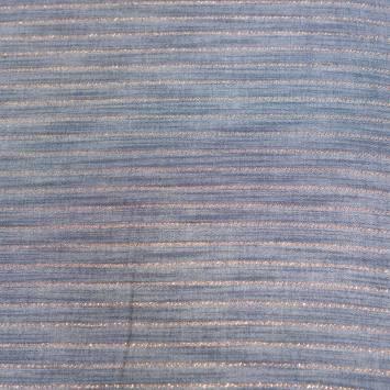 Tissu viscose bleu jean à rayures cuivrées brillantes
