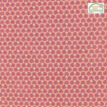 coupon - Coupon 34cm - Coton rouge vermillon motif trèfle riad