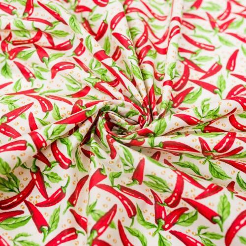 Coton blanc imprimé piment