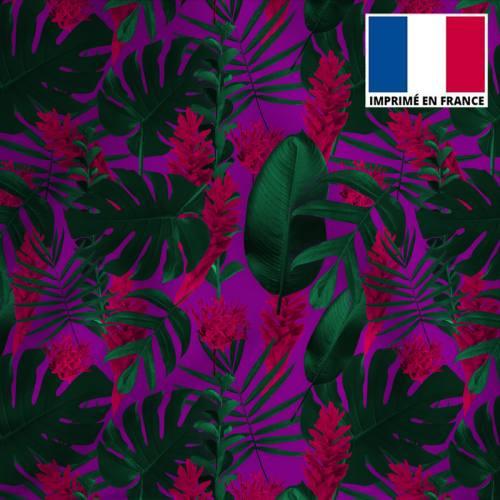 Tissu microfibre violet et vert imprimé feuilles tropicales