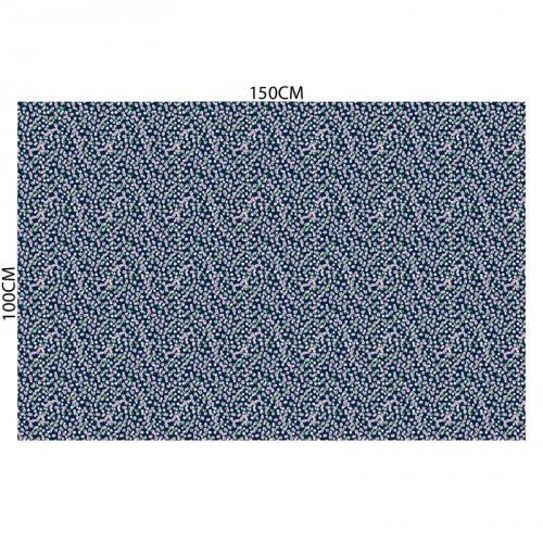 Tissu microfibre bleu imprimé petites fleurs roses