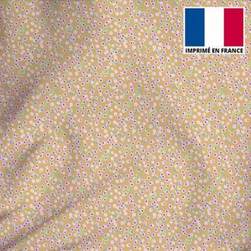 Tissu microfibre sable imprimé petites fleurs roses