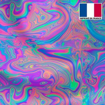 Lycra motif flux psychédélique rose bleu et vert