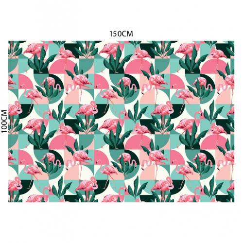 Tissu occultant motif flamant rose rétro