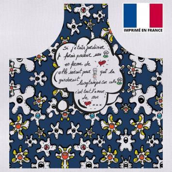 Kit canvas pour tablier motif fleur poème bleu - Création Anne-Sophie Dozoul