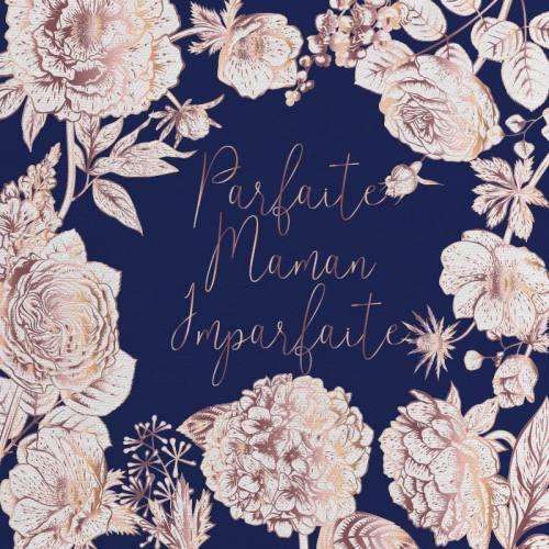 Coupon 45x45 cm toile canvas bleue motif maman parfaite rose gold