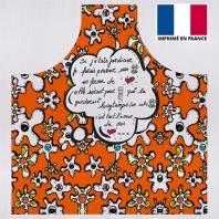Kit canvas pour tablier motif fleur poème orange - Création Anne-Sophie Dozoul