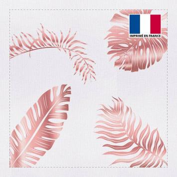 Coupon 45x45 cm toile canvas feuilles tropicales rose gold