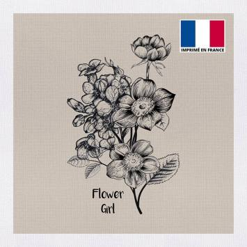 Coupon 45x45 cm toile canvas flower girl beige