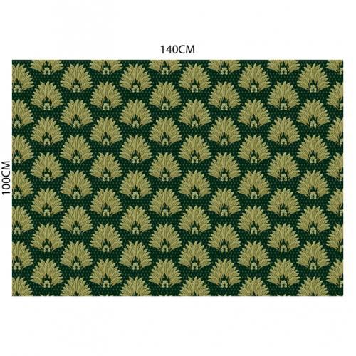 Velours ras noir motif poinçon de lys et feuille vert