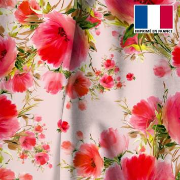 Velours ras rose imprimé coquelicot peint
