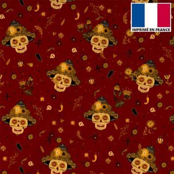 Tissu burlington bordeaux imprimé tête de mort mexicaine
