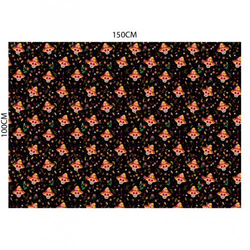 Tissu burlington noir imprimé tête de mort mexicaine
