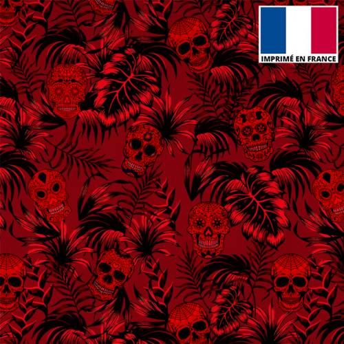 Tissu burlington rouge imprimé jungle tête de mort rouge