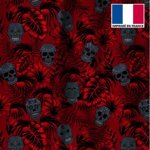 Velours rouge imprimé jungle tête de mort grise