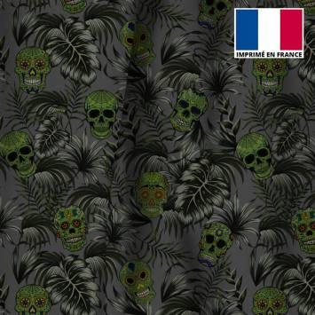 Velours ras gris imprimé jungle tête de mort verte