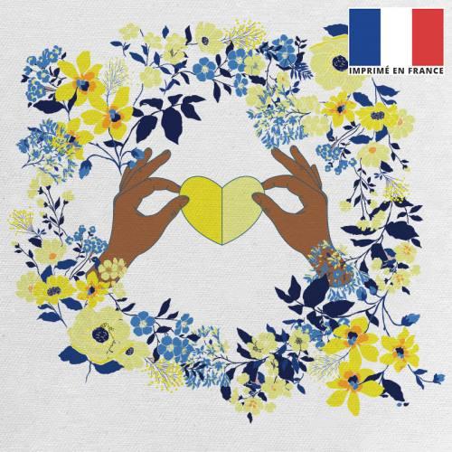 Coupon 45x45 cm toile canvas écrue motif fleur et coeur jaune et bleu