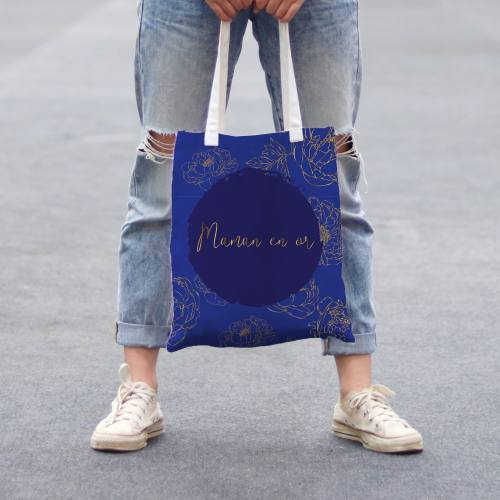 Coupon 45x45 cm toile canvas bleu motif maman en or