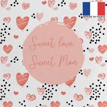 Coupon 45x45 cm toile canvas écrue motif sweet mom