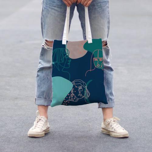 Coupon 45x45 cm toile canvas bleu canard motif esquisse verte et rose
