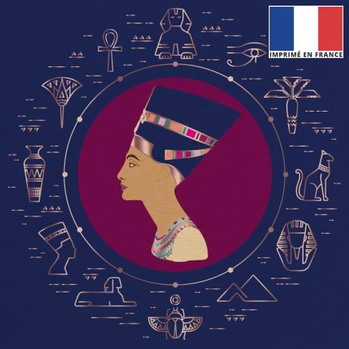 Coupon 45x45 cm toile canvas reine d'Egypte bleu foncé et rose gold