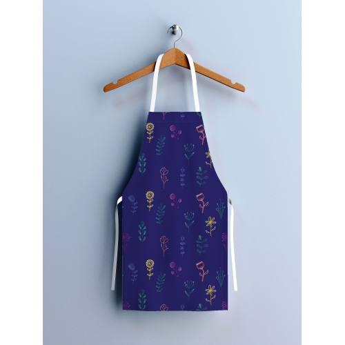 Kit canvas pour tablier bleu motif fleurs des champs