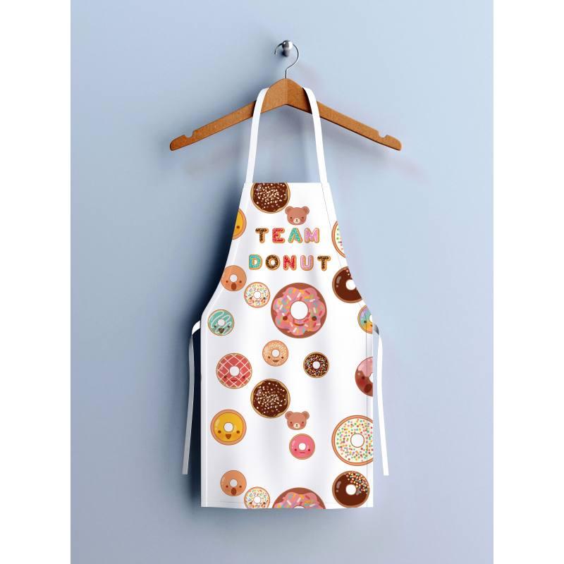 Patron imprimé sur canvas pour tablier motif donuts colorés