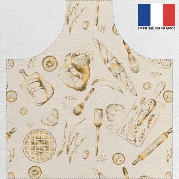 Kit canvas pour tablier écru motif boulangerie doré