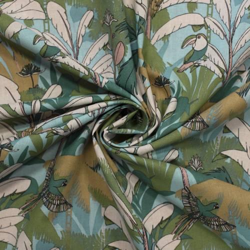 Coton bleu ciel motif toucan et ara vert d'eau