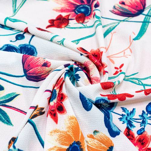 Tissu crêpe écru imprimé grosses fleurs colorées