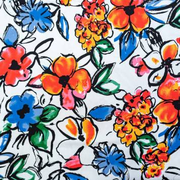 Satin de coton extensible écru motif fleur rouge et bleue