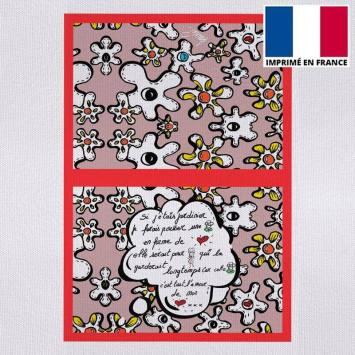 Kit pochette canvas motif fleur poème vieux rose - Création Anne-Sophie Dozoul